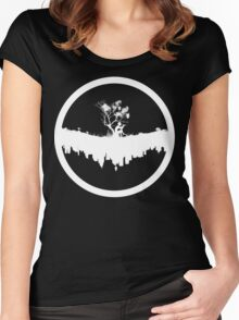 Urban Faun - White on Black Women's Fitted Scoop T-Shirt