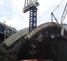 The New World Trade Center Transit Hub Starts to Rise, Santiago Calatrava, Designer, Lower Manhattan, New York City  by lenspiro