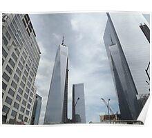 One World Trade Center Reflects in 4 World Trade Center, Lower Manhattan, New York City  Poster