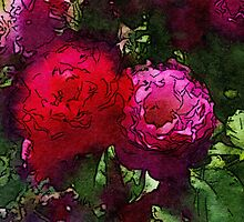 Red Roses Watercolor by SplashCorner