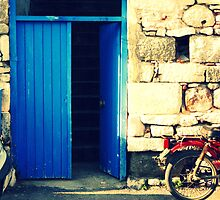blue door and the motorcycle by gzmguvenc89