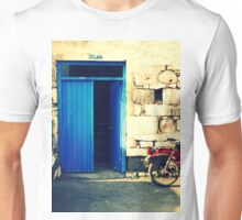 blue door and the motorcycle Unisex T-Shirt