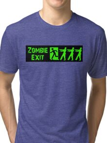 ZOMBIE EXIT SIGN by Zombie Ghetto Tri-blend T-Shirt