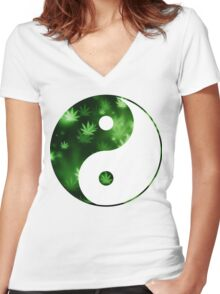 Yin Yang Weed Women's Fitted V-Neck T-Shirt