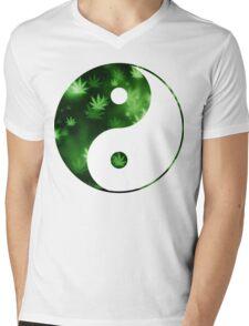 Yin Yang Weed Mens V-Neck T-Shirt