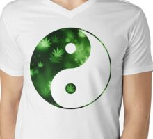 Yin Yang Weed Mens V-Neck T-Shirt