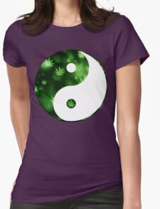 Yin Yang Weed Womens Fitted T-Shirt