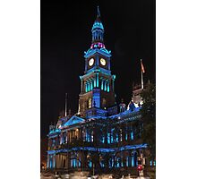 Town Hall in Xmas Blue Photographic Print