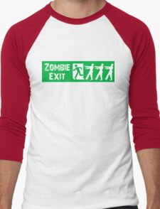 ZOMBIE EXIT SIGN by Zombie Ghetto Men's Baseball ¾ T-Shirt