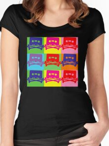 Pop Art Tape and Bones Women's Fitted Scoop T-Shirt