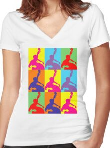 Pop Art Acoustic Bass Player Women's Fitted V-Neck T-Shirt