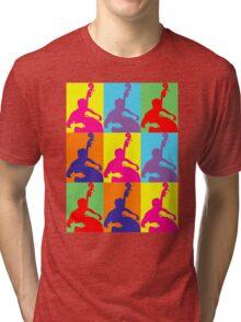 Pop Art Acoustic Bass Player Tri-blend T-Shirt