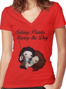 Solving Puzzles, Saving the Day Women's Fitted V-Neck T-Shirt