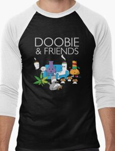 Doobie and Friends - White text Men's Baseball ¾ T-Shirt