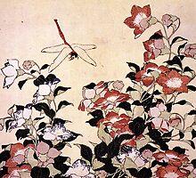 'Chinese Bell Flower and Dragonfly' by Katsushika Hokusai (Reproduction) by Roz Abellera