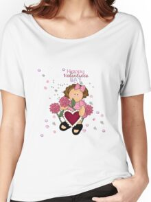 Happy Valentines Girl Women's Relaxed Fit T-Shirt