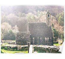 Glendalough Stone Building Poster