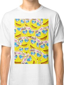 Galaxy Heart Eyes Emoji With Flower Crown Collage Classic T-Shirt