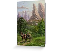 Landscape with man driving horse and cart Greeting Card