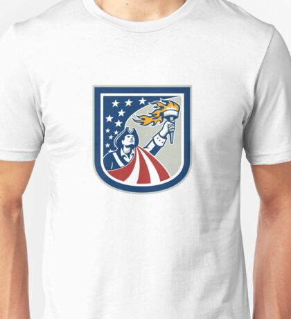 American Patriot Holding Up Torch Flag Shield Unisex T-Shirt