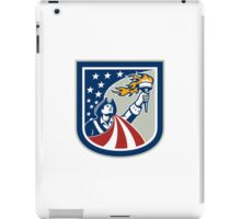 American Patriot Holding Up Torch Flag Shield iPad Case/Skin