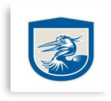 Great Blue Heron Head Shield Retro Canvas Print
