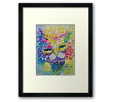 Pink Lemon Cat Painting Original Fine Art by Ekaterina Chernova Framed Print