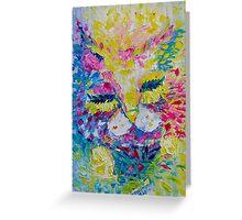 Pink Lemon Cat Painting Original Fine Art by Ekaterina Chernova Greeting Card