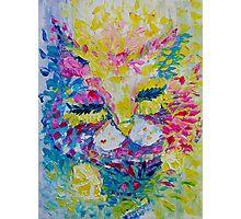 Pink Lemon Cat Painting Original Fine Art by Ekaterina Chernova Photographic Print
