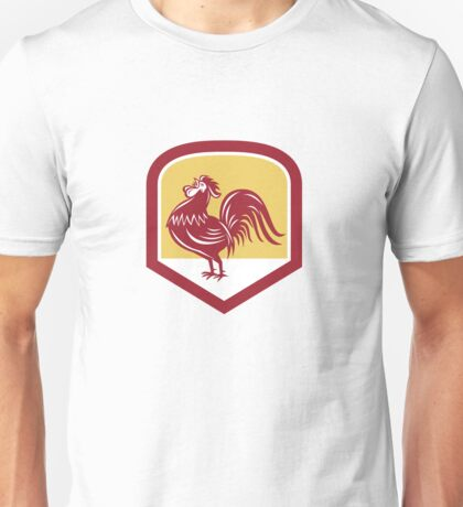Rooster Cockerel Crowing Side Woodcut Shield Unisex T-Shirt