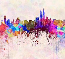 Kuala Lumpur skyline in watercolor background by Pablo Romero