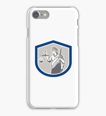 Lady Blindfolded Holding Scales Justice Sword Shield iPhone Case/Skin