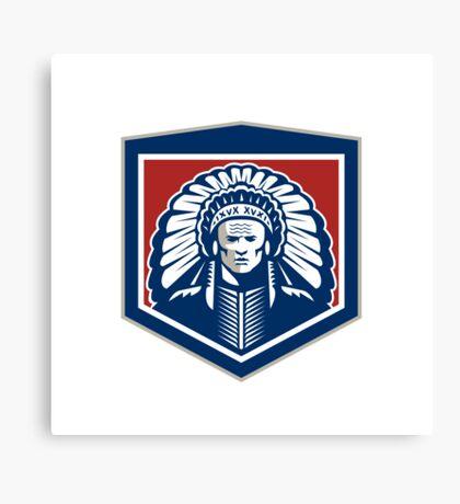 Native American Chief Shield Retro Canvas Print