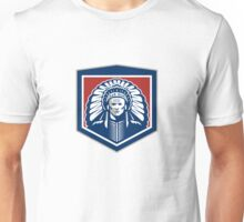 Native American Chief Shield Retro Unisex T-Shirt