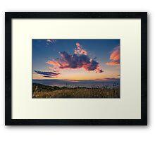 Raglan sunset – crepuscular rays Framed Print