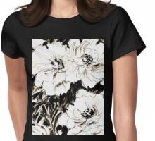 Peonies in ink Womens Fitted T-Shirt
