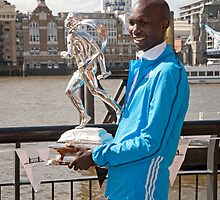 The Elite winner of the London Marathon 2014  Wilson Kipsang both from Kenya by Keith Larby