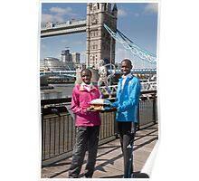 The Elite winners of the London Marathon 2014 Edna Kiplagat and Wilson Kipsang both from Kenya Poster