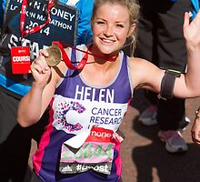 Helen skelton with her London Marathon medal by Keith Larby