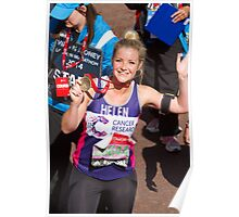 Helen skelton with her London Marathon medal Poster
