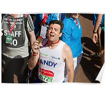 Andy Burnham with his London Marathon medal Poster