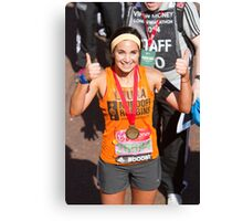 Laura Wright with her London Marathon medal Canvas Print