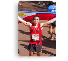Trey Farley with his London Marathon medal Canvas Print