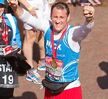 Nick Pickard with his London Marathon medal by Keith Larby