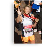 Amy Guy with her London Marathon medal Canvas Print