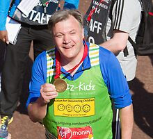 Ed Balls with his London Marathon medal by Keith Larby