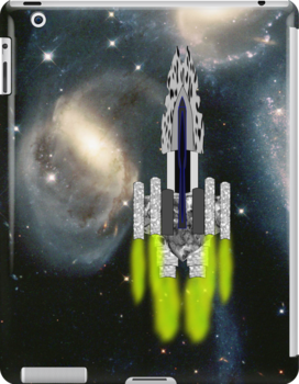 An Interstellar Cruiser Transits Stephan's Quintet iPad/iPhone/iPod/Samsung cases by Dennis Melling