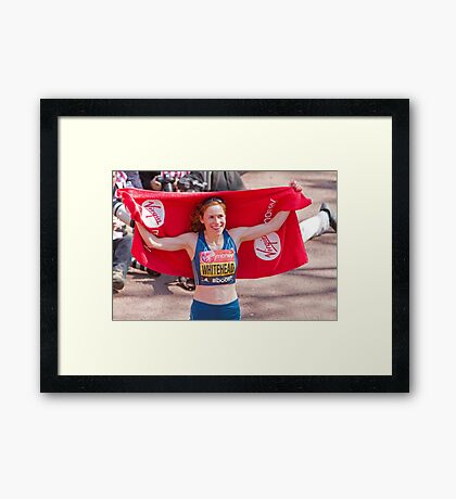 Amy Whitehead after crossing the finish line of the London Marathon Framed Print