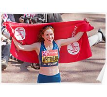 Amy Whitehead after crossing the finish line of the London Marathon Poster