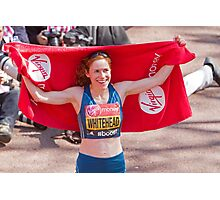 Amy Whitehead after crossing the finish line of the London Marathon Photographic Print